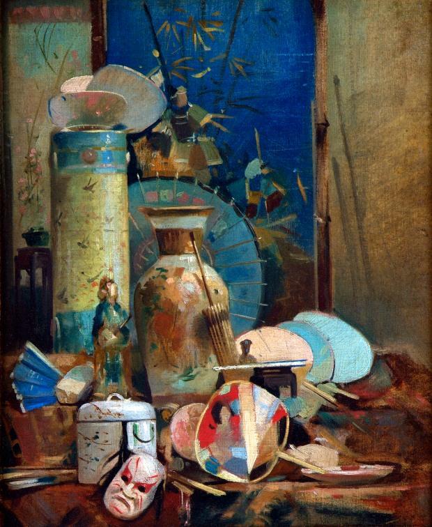 Naturaleza muerta japonesa. Auguste Donnay (1862-1921). Bélgica. Inicio del siglo 20. Musée des Beaux-Arts de Liège (BAL)