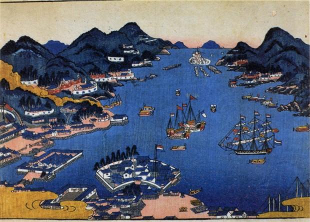 Vista de Dejima en la Bahía de Nagasaki. Archivo de la Prefectura de Nagasaki.