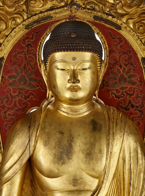 Le Bouddha Amida trônant dans sa Terre pure Japon, Kyōto. 18e siècle. Bois doré. Don d'Edmond Rochette en 1938. Musée d'ethnographie de Genève Photo : J. Watts