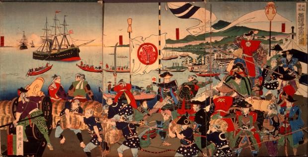 El Buque Negro del Comodoro Perry/ Samurais en la Bahía de Edo. Toshu Shogetsu, Shiryo Hensanjo, Universidad de Tokio. Ilustración no presente en la exposición.
