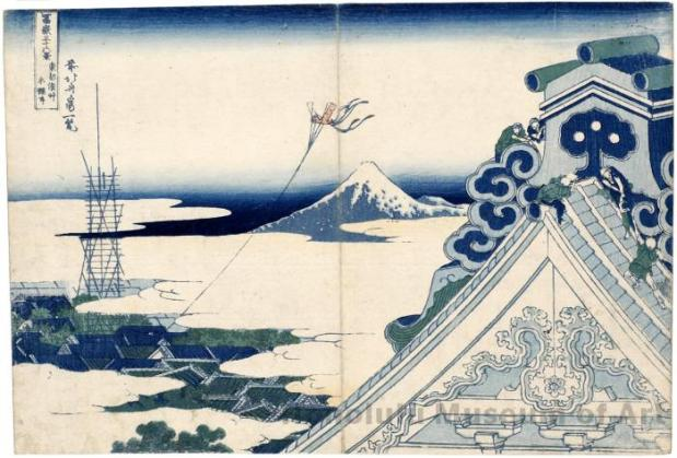 Templo Honganji, en Asakusa, Edo. Katsushika HOKUSAI (1760-1849). De la Serie « 36 vistas del Monte Fuji »; ca. 1830-1832; 25,9 x 38,5 cm; Nishiki-e. Honolulu Museum of Art Collection.