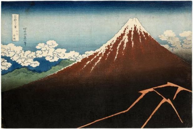 Tormenta bajo la Cumbre. Katsushika Hokusai. De la Serie « 36 vistas del Monte Fuji »; ca. 1830-1832; 25.5 x 38.2 cm; Nishiki-e. Honolulu Museum of Art Collection.