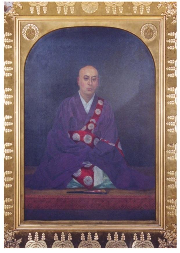 Uno de los dos retratos presentados de Myônyo Shonin por Andô Nakatarô. Oleo sobre tela. 222x171 cm. Hongwanji Shimpô. Tomada de la revista Totem.