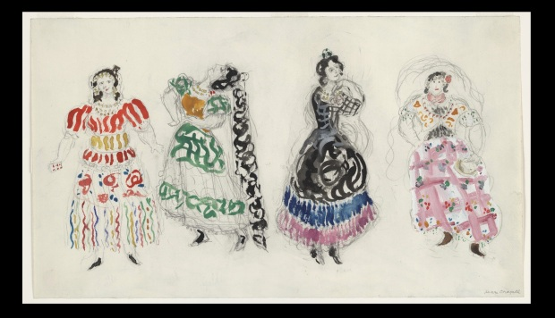 "Marc Chagall, ""Gypsies, costume design for Aleko (Scene IV)"" (1942), Gouache, watercolor, and pencil on paper, 12 x 20 3/4"" (30.5 x 52.7 cm), MoMA, Acquired through the Lillie P. Bliss Bequest"