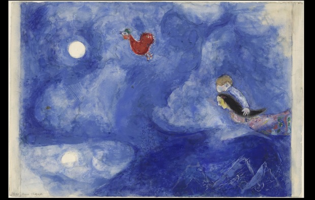 "Marc Chagall, ""Aleko and Zemphira by Moonlight. Study for backdrop for scene 1 of the ballet Aleko"" (1942), Gouache and pencil on paper, 15 1/8 x 22 1/2"" (38.4 x 57.2 cm), MoMA, Acquired through the Lillie P. Bliss Bequest"
