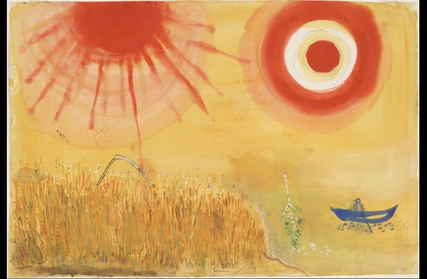 "Marc Chagall, ""A Wheatfield on a Summer's Afternoon. Study for backdrop for Scene III of the ballet Aleko"", Gouache, watercolor, and pencil on paper, 15 1/4 x 22 1/2"" (38.7 x 57.2 cm), MoMA, Acquired through the Lillie P. Bliss Bequest"
