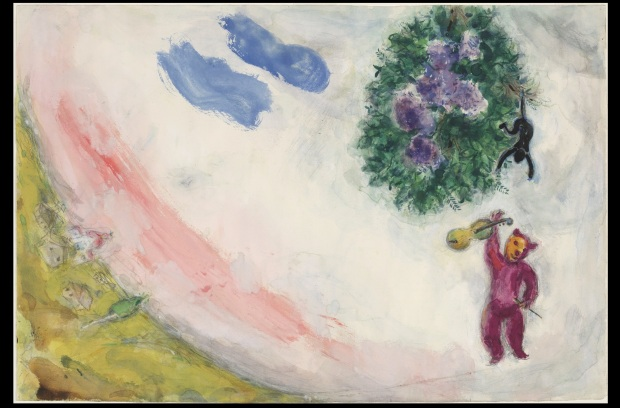 "Marc Chagall, ""The Carnival. Study for backdrop for Scene II of the ballet Aleko"", Gouache, watercolor, and pencil on paper, 15 1/4 x 22 1/2"" (38.7 x 57.2 cm), MoMA, Acquired through the Lillie P. Bliss Bequest"