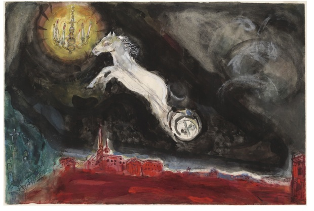 "Marc Chagall, ""A Fantasy of St. Petersburg. Study for backdrop for Scene IV of the ballet Aleko"" (1942). Watercolor, gouache, and pencil on paper. (38.1 x 56.8 cm). MoMA. Acquired through the Lillie P. Bliss Bequest."