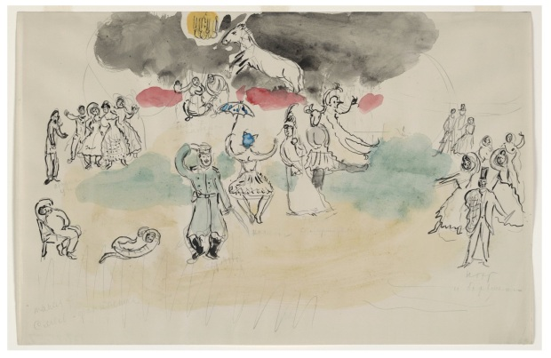 "Marc Chagall, ""Aleko's Fantasy. Sketch for the choreographer for Scene IV of the ballet Aleko"" (1942), Watercolor, pencil, and ink on paper, MoMA. Acquired through the Lillie P. Bliss Bequest."