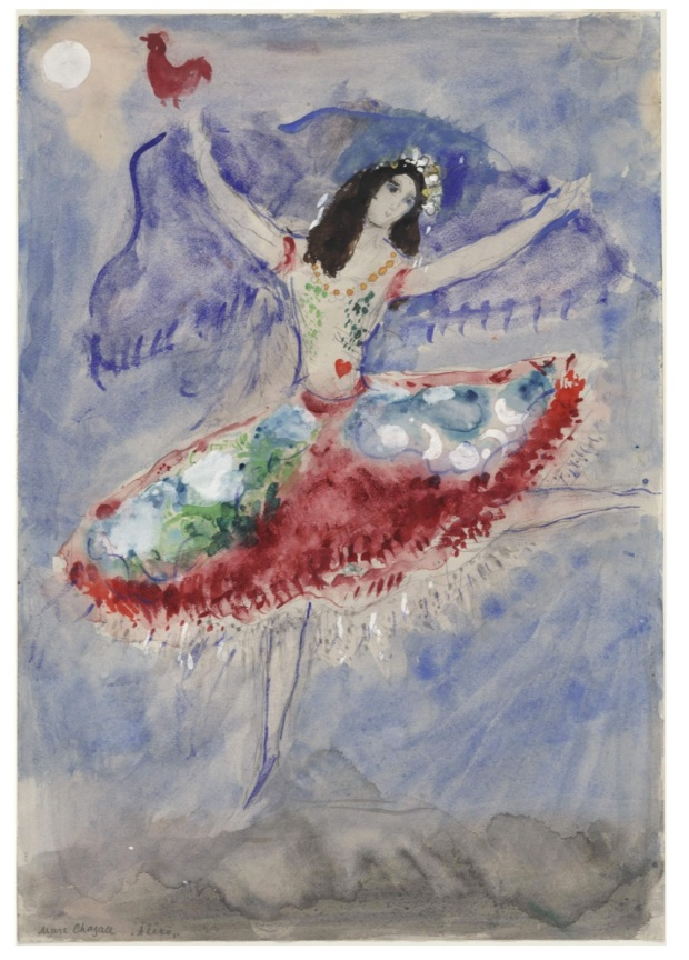 "Marc Chagall, ""Zemphira, costume design for Aleko (Scene I)"" (1942), Gouache, watercolor, and pencil on paper, 21 x 14 1/2"" (53.3 x 36.8 cm), MoMA, Acquired through the Lillie P. Bliss Bequest."