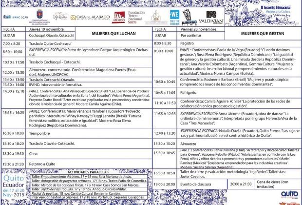 Programación III Encuentro Internacional Mujeres X la Cultura V